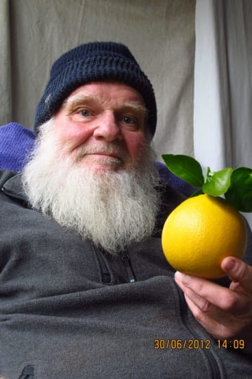 Michael Boddy, actor and author, with a grapefruit.