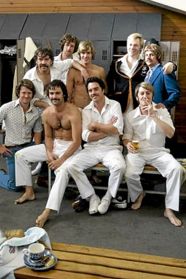 The colourful cast of late-'70s cricketers on set.