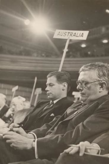 "John Burton, left, with Australian foreign minister H. V. ""Doc"" Evatt at a United Nations executive meeting."