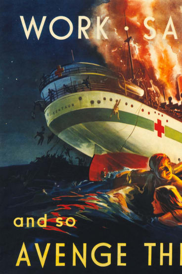 WAR CRY: A poster produced during World War II to rally support for the war effort. It depicts the sinking the moments after the Centaur was torpedoed. Picture courtesy Australian War Memorial