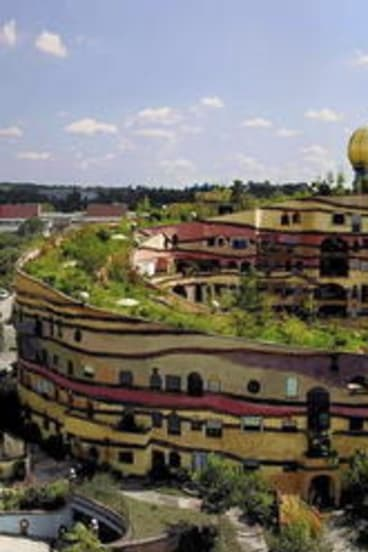 The aspirational end of the spectrum: fully integrated architecture, art, urban design and green infrastructure - Hundertwasser's Waldspirale housing in Darmstadt, Germany.