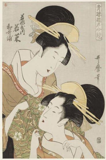Kitagawa Utamaro, <i>Wakaura and Wakana of the Wakanaya</i>, from <i>Courtesans of the Pleasure Quarters in Double Mirrors</i>, about 1797.