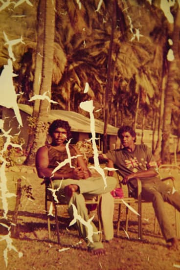 A young Cameron Doomadgee (right).