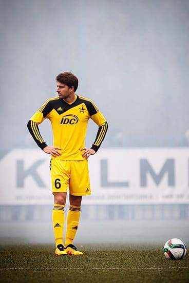 Obscure: Golec plays through a haze of flare smoke with Sheriff Tiraspol.