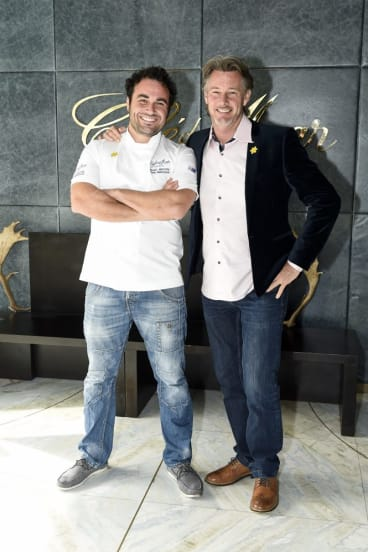 Common goal: Miguel Maestre and Barry Du Bois at the Cancer Council's Biggest Morning Tea.