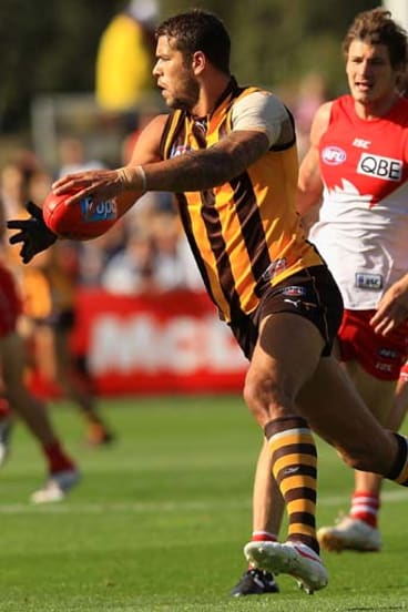 Subdued ... the Hawks' Lance Franklin was kept quiet.