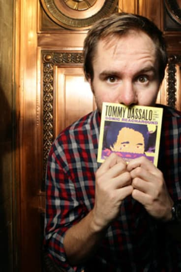 """Tommy Dassalo """"sucking it up"""" to get the word out."""