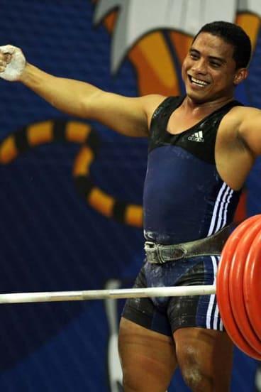 Nauru's gold medal winner Yukio Peter.