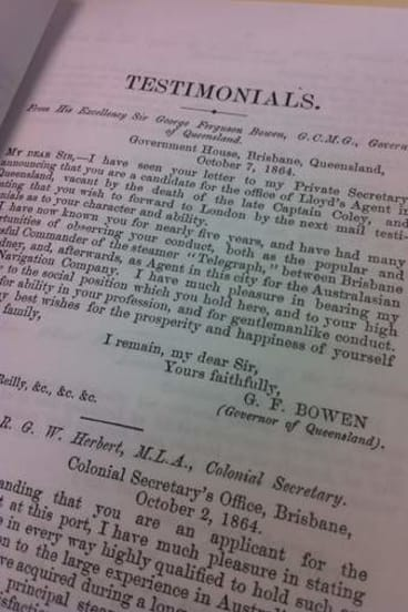 Testimonial for Henry O'Reilly from Queensland Governor George Bowen.