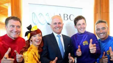 Communications minister Malcolm Turnbull with the Wiggles. Photo: Andrew Meares