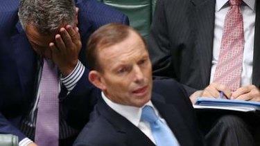 Treasurer Joe Hockey and Prime Minister Tony Abbott during Question Time. Photo: Alex Ellinghausen