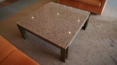A marble table at Parliament House on Monday.