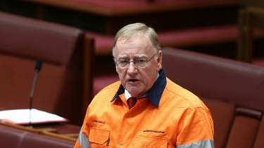 Liberal Senator Ian Macdonald speaks on the mining tax repeal. Photo: Alex Ellinghausen