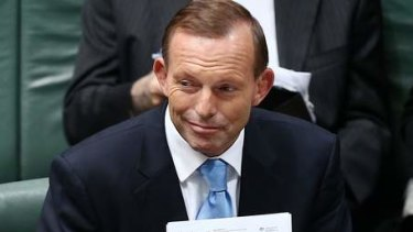 Prime Minister Tony Abbott during QT. Photo: Alex Ellinghausen