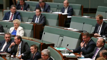 The empty seats of Liberal MPs Joe Hockey and Tony Abbott during question time on Wednesday.