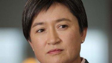 Senator Penny Wong comments on the Senate's censure of Assistant Health Minister Fiona Nash. Photo: Alex Ellinghausen