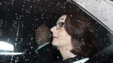 Former prime minister Julia Gillard on her way to her appearance at the unions royal commission.