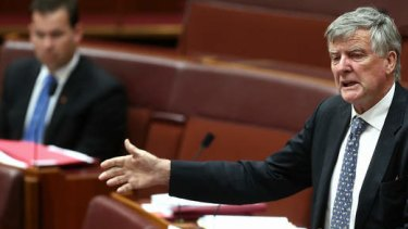 Liberal Senator Bill Heffernan during the debate in the Senate. Photo: Alex Ellinghausen