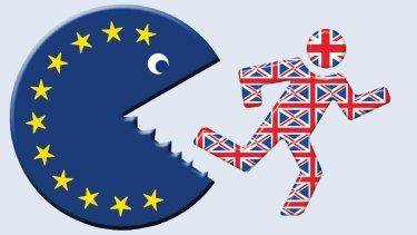 Cartoon image of Britain escaping jaws of EU. Image by Die Welt.