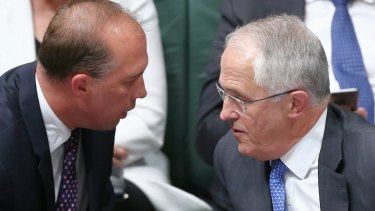 Immigration Minister Peter Dutton and Prime Minister Malcolm Turnbull during question time on Wednesday.