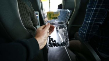 Prime Minister Kevin Rudd gives blueberries to the  media in Sydney on Friday.