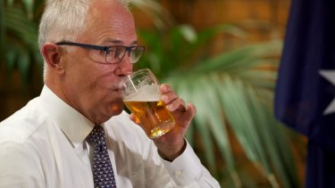 Communications minister Malcolm Turnbull answers questions at The Dam Hotel in Warnervale on the Central Coast for a 'Politics in the Pub' on Thursday.