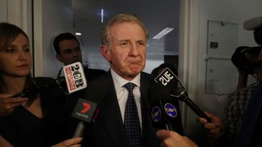 Labor MP Simon Crean speaks to the media after doing a television interview in the press gallery