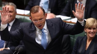 """Prime Minister Tony Abbott withdraws after describing Opposition leader Bill Shorten as """"the Dr Goebbels of economic policy"""" during question time on Thursday."""