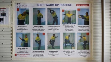 Warm up exercise guide for workers at BAE Systems in Williamstown, Melbourne.