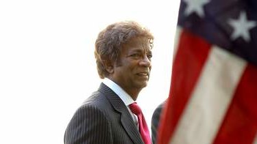 Kamahl arrives to recite the Gettysburg Address on the 150th anniversary, at Parliament House. Photo: Alex Ellinghausen