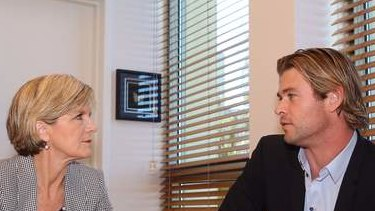 Minister for Foreign Affairs Julie Bishop met with Australian Hollywood actor Chris Hemsworth  on Wednesday. Photo: Andrew Meares