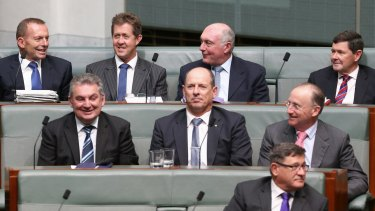 Former prime minister Tony Abbott, former minister Luke Hartsuyker, former deputy prime minister Warren Truss and former minister Kevin Andrews during a division in question time on Tuesday.