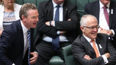 Leader of the House Christopher Pyne and Prime Minister Malcolm Turnbull during question time on Tuesday.