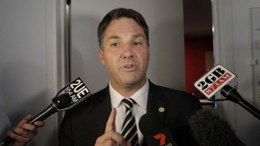 Richard Marles speaks to the media after resigning as a parliamentary secretary
