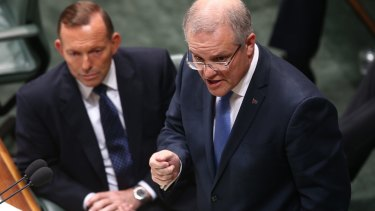 Prime Minister Tony Abbott and Social Services Minister Scott Morrison during question time  on Tuesday.