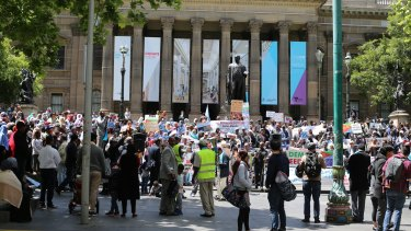 Protests outside Melbourne's State Library by Australia's Eritrean community on November 5, 2017, against the Eritrean government's moves to put religious schools under state control.