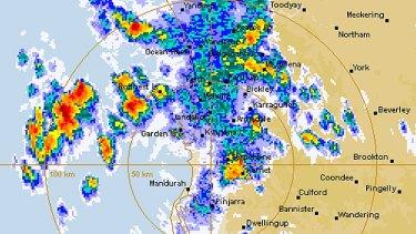 Perth's rain radar at 6.33pm.