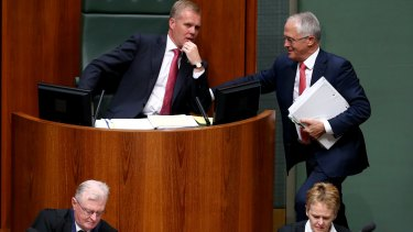 Speaker Tony Smith and Prime Minister Malcolm Turnbull in discussion during a division in the House of Representatives on Tuesday.