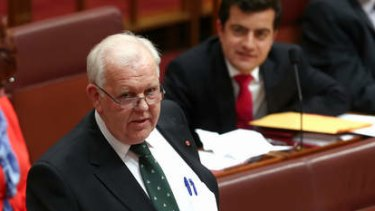 Senator Joe Bullock delivers his first speech in the Senate. Photo: Alex Ellinghausen