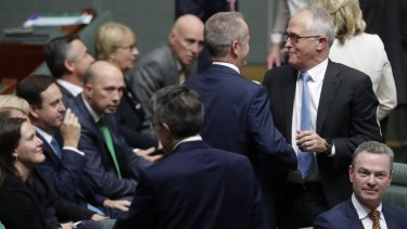 Opposition Leader Bill Shorten and Prime Minister Malcolm Turnbull in the House of Representatives after the vote to legislate same-sex marriage.