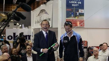Opposition leader Tony Abbott at the Australian Fishing Trade Show on the  Gold Coast, Queensland, on Monday.