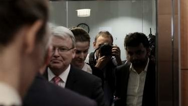 Prime Minister Kevin Rudd enters a lift before a press conference in Melbourne on Thursday.