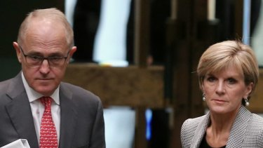 Communications Minister Malcolm Turnbull and Foreign Affairs Minister Julie Bishop leave question time on Monday.
