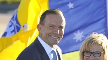 Prime Minister Tony Abbott and Australian of the Year Rosie Batty in Canberra on Sunday.