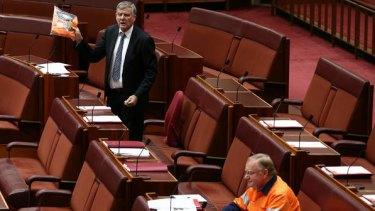 Senator Bill Heffernan on the orange tops. Photo: Alex Ellinghausen