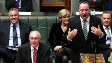 Treasurer Joe Hockey, Acting Prime Minister Warren Truss and Agriculture Minister Barnaby Joyce. Photo: Alex Ellinghausen