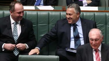 Agriculture Minister Barnaby Joyce, Treasurer Joe Hockey and Acting Prime Minister Warren Truss. Photo: Alex Ellinghausen