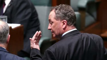 Immigration Minister Scott Morrison and Agriculture Minister Barnaby Joyce depart question time on Wednesday.