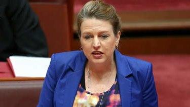 Senator Louise Pratt delivers her valedictory statement to the Senate on Tuesday. Photo: Alex Ellinghausen