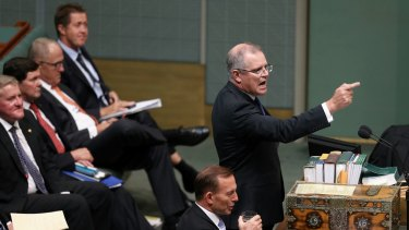 Social Services Minister Scott Morrison during question time on Tuesday.